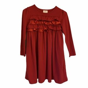 HANNA ANDERSSON Red Ruffle Ribbon Dress SIZE 130